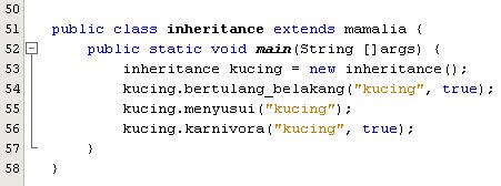 Class inheritance - subclass dari vertebrata dan mamalia